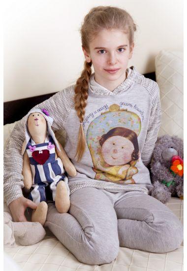 6610 комплект подростковый для девочки: джемпер и брюки Anab